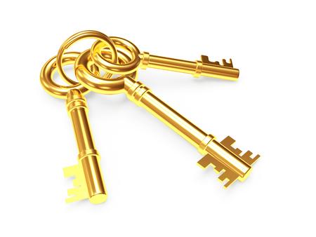 llaves: Manojo de tres antiguas llaves de oro aisladas sobre fondo blanco