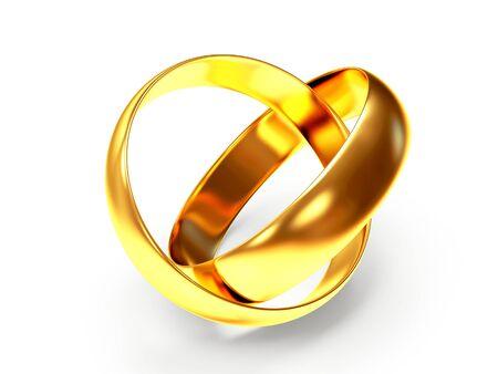 anillos de boda: Un par de anillos de bodas de oro brillante aislado en el fondo blanco