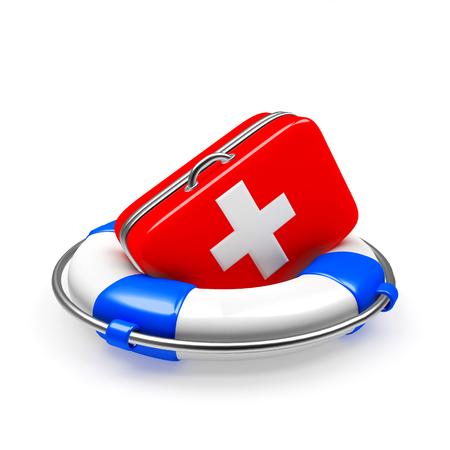 salute: Salvagente anulare con kit di primo soccorso isolato su sfondo bianco. Assicurazione sanitaria Archivio Fotografico