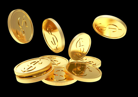 dollar sign: Falling golden coins close up isolated on a black background