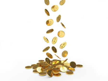 Falling golden coins isolated on white background