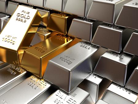 Geschäfts- und Finanzhintergrund. Stapel von silbernen und goldenen Balken Standard-Bild - 50261266
