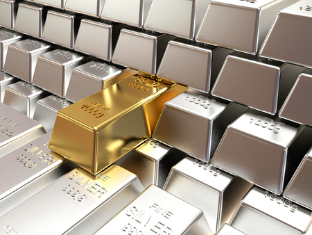silver bars: Stacks of silver bars with one of gold. Business and financial background