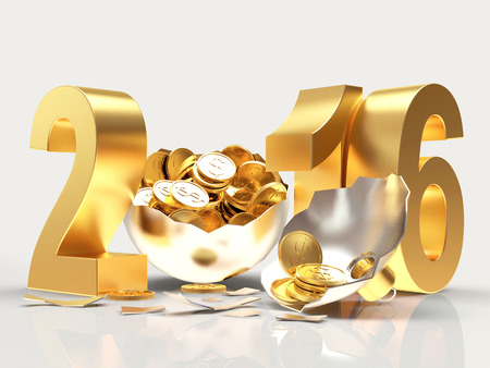 profit celebration: Golden 2016 New Year and silver broken Christmas ball with coins