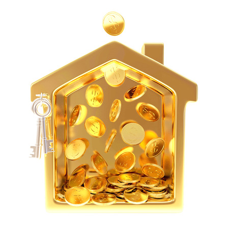 Golden house with falling coins isolated on white background