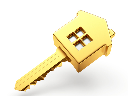 Concept hypothécaire. Golden house clé de forme isolé sur fond blanc Banque d'images - 50261290