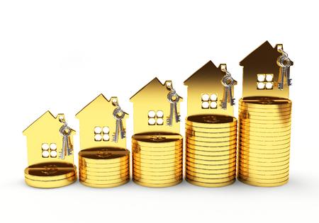 Hypothek Konzept. Goldenes Haus auf Stapel von Münzen auf weißem Hintergrund