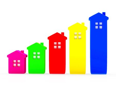 Mortgage concept. Abstract colorful houses in the form of a graph isolated on white background Stock Photo - 50261295