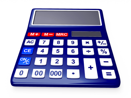 compute: Blue electronic calculator isolated on white background