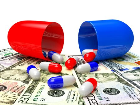 high cost of healthcare: Medical capsules spilled out of an open capsule on dollar bills. High costs of expensive medication concept