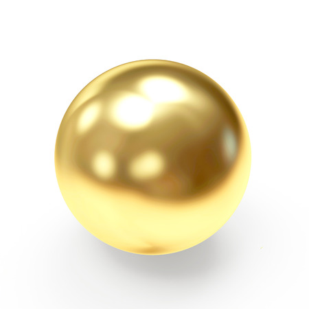Golden shining sphere isolated on a white background