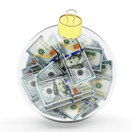 profit celebration: Glass Christmas ball full of dollar bills isolated on white background