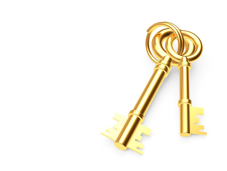 Bunch of old golden keys on keyring isolated on white background