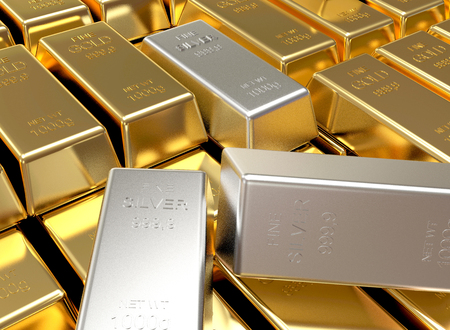 Business and finance background. Stacks of golden and silver bars