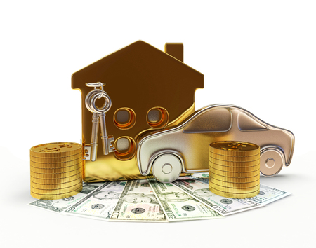 Property concept. Car, house and money isolated on white background Reklamní fotografie