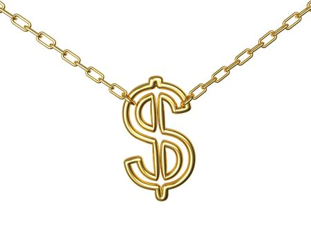 Golden dollar sign on a chain isolated on white background