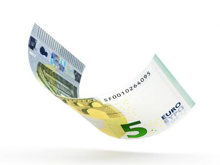 5 Euro-Banknote gelockt auf weißem Hintergrund isoliert