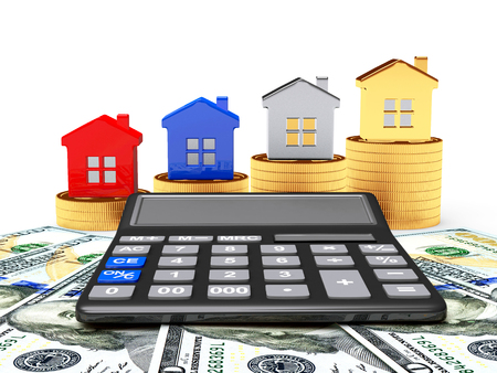 real estate background: Different houses on stacks of golden coins and calculator on dollar bills Stock Photo