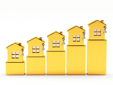 economic rent: Golden houses on the chart isolated on white background Stock Photo