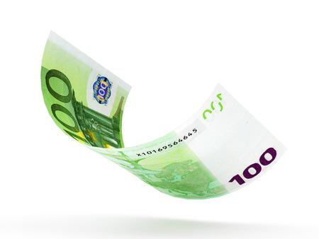 one hundred euro banknote: One hundred Euro banknote curled isolated on white background Stock Photo