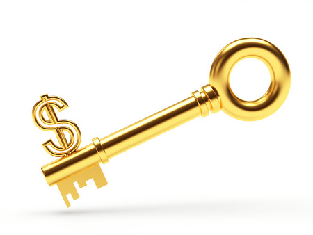 Concept of financial success. Golden key in the form of a dollar sign isolated on white background Stok Fotoğraf