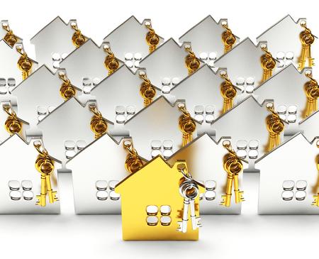 Hypotheek concept. Rijen van zilver huizen met een gouden huis onder hen op een witte achtergrond Stockfoto