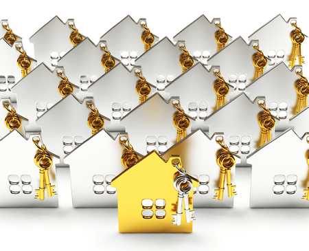Mortgage concept. Rows of silver houses with one golden house among them isolated on white background Stock Photo
