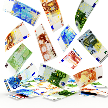 denominations: Falling euro bills of various denominations isolated on white background