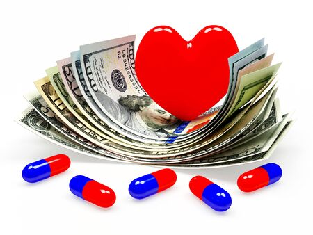 high cost: Red heart and medical capsules on dollar bills. High cost of medicines concept Stock Photo