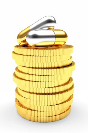 high cost of healthcare: Medical capsules on a stack of golden coins isolated on white background