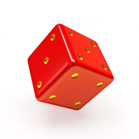 dados: cubo rojo de los dados en el fondo blanco