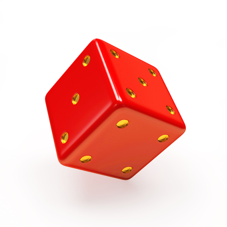 Red dice cube on white background