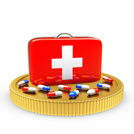 high cost of healthcare: First aid kit and pills on a golden coin isolated on white background