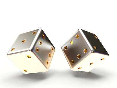 rolling dice: Silver dice cubes isolated on white background