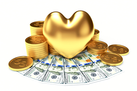 venality: The love of money concept. Golden heart among a heap of coins and dollar bills isolated on white background