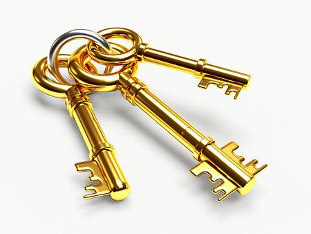 Set of golden keys on the ring isolated on white background