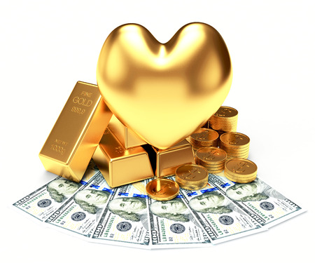 The love of money concept. Golden heart among a heap of bullion, coins and dollar bills isolated on white background