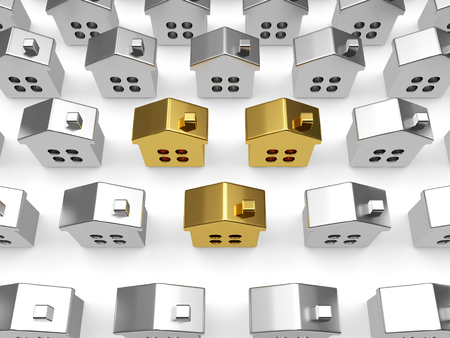 Mortgage concept. Rows of silver houses with several golden houses among them on white background