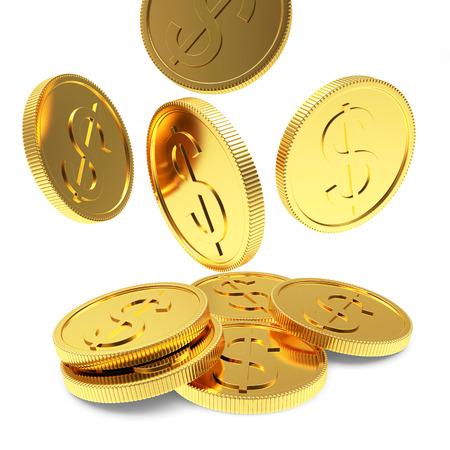 Dalende gouden munten close-up geïsoleerd op een witte achtergrond