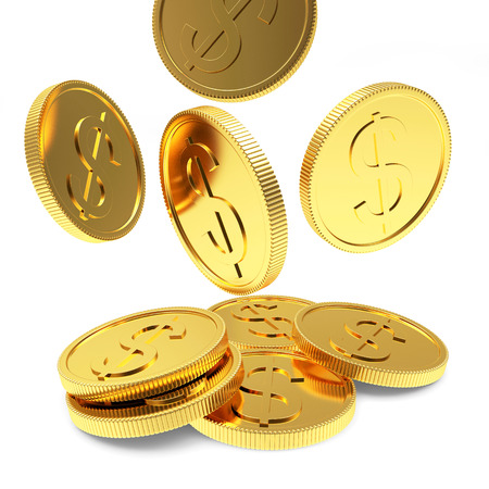 Falling golden coins close-up isolated on a white background Foto de archivo