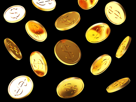 Falling golden coins isolated on black background