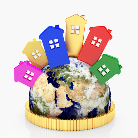 Real estate concept. Colorful houses in different parts of the world. Elements of this image furnished by NASA