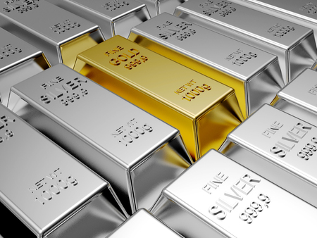 silver bars: Rows of silver bars and one of gold. Business and financial background