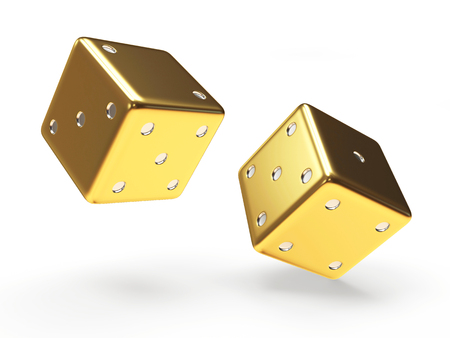 rolling: Golden dice cubes isolated on white background