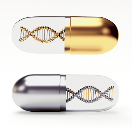Golden and silver medical capsules with a DNA molecule structure inside isolated on white background