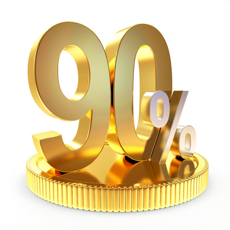 90: 90 percent discount on golden coin isolated on white background