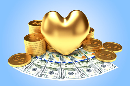 venality: The love of money concept. Golden heart among a heap of coins and dollar bills on blue background Stock Photo