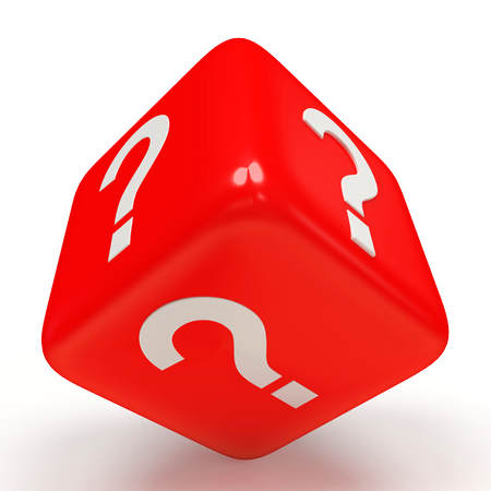 interrogativa: Red cube with question mark isolated on white background Foto de archivo