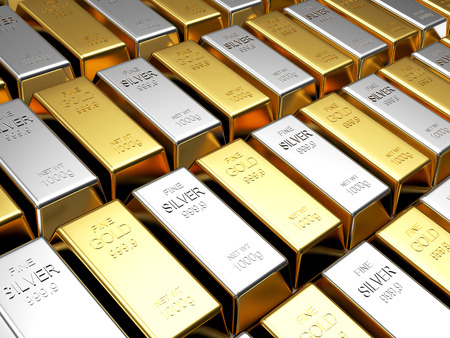 silver bars: Business and finance background. Rows of golden and silver bars