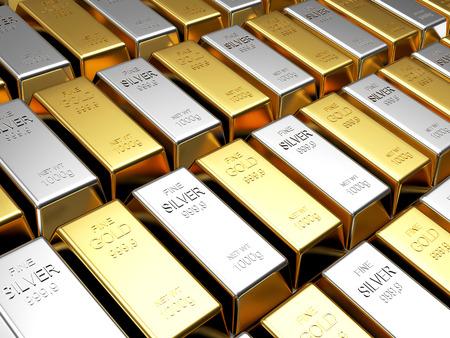 Finanzen und Business Hintergrund. Reihen von goldenen und Silberbarren Standard-Bild - 52208723